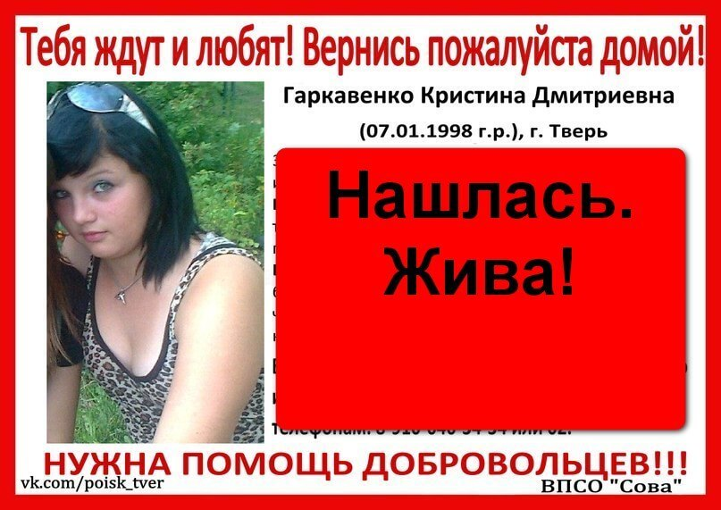 [Жива] Гаркавенко Кристина Дмитриевна (1998 г.р.)