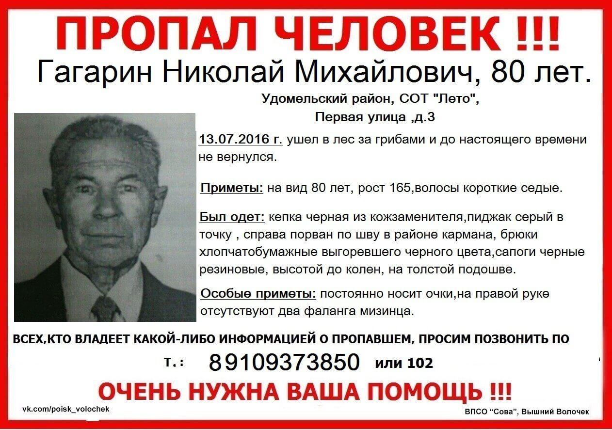Пропал Гагарин Николай Михайлович (80 лет)