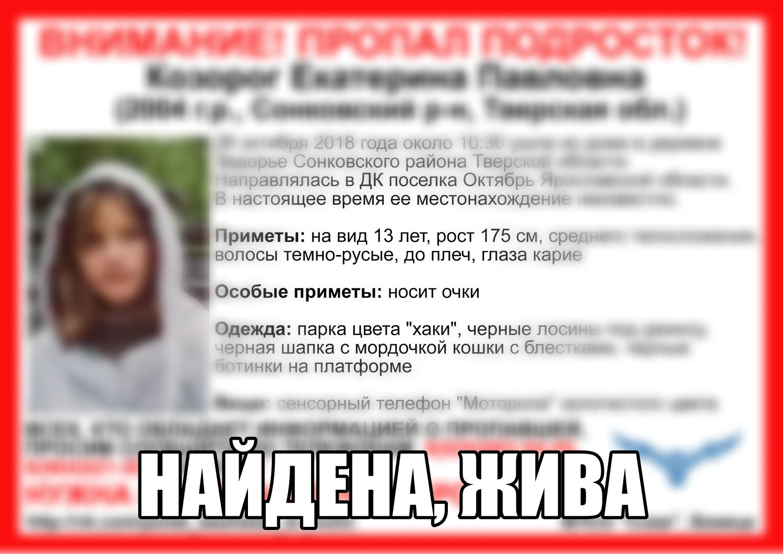 Установлено местонахождение несовершеннолетней, покинувшей дом в Сонковском районе