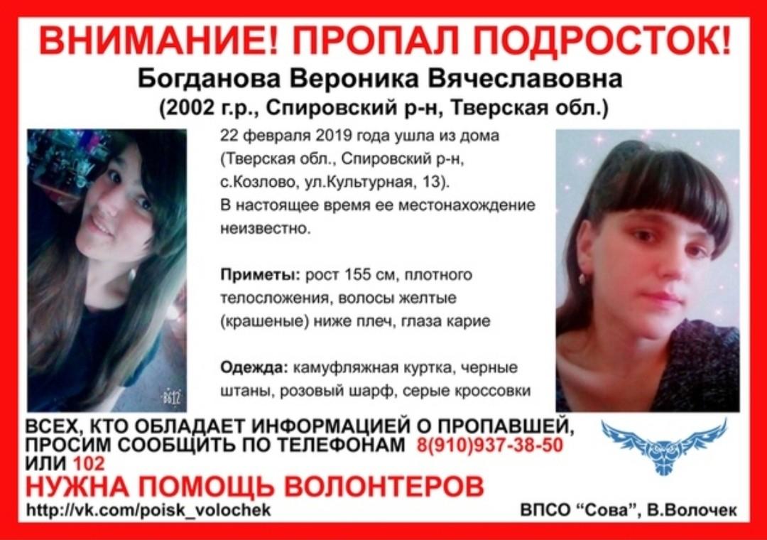 По факту пропажи Вероники Богдановой заведено уголовное дело