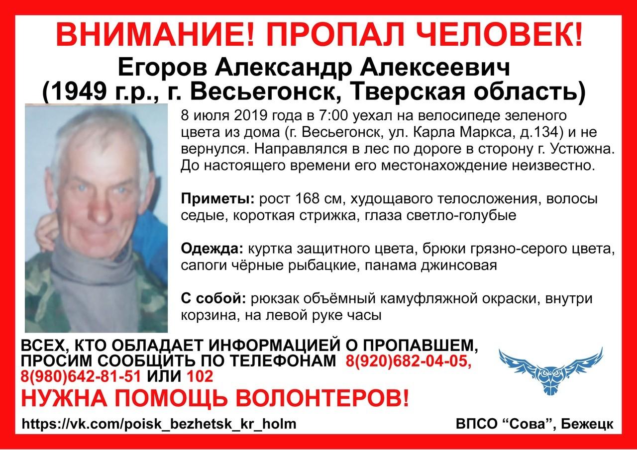 По факту пропажи Александра Егорова проводится доследственная проверка