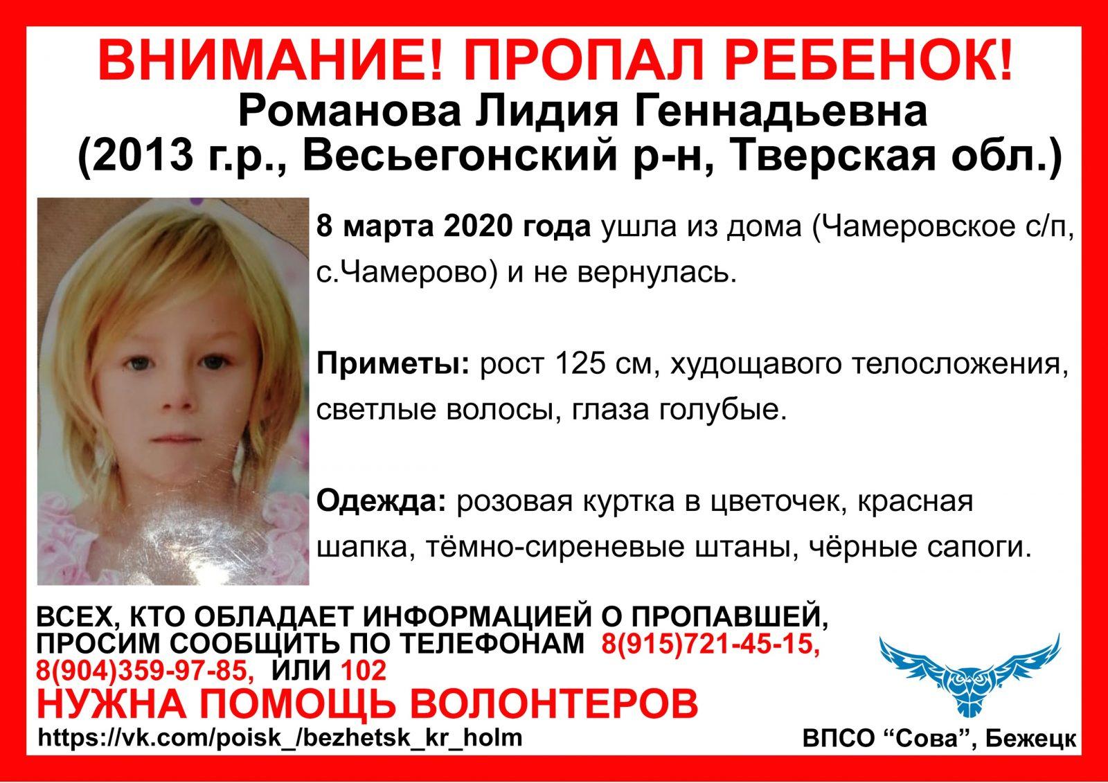 В Тверской области возбуждено уголовное дело по факту безвестного исчезновения малолетней девочки